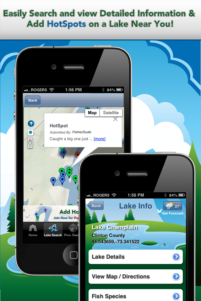 Apps For Anglers App Lake Details & HotSpots Screens