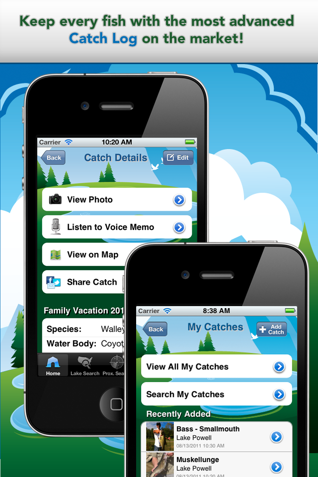 Apps For Anglers App Catch Log Screens