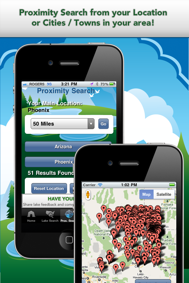 Apps For Anglers App Proximity Search & Map View Screens